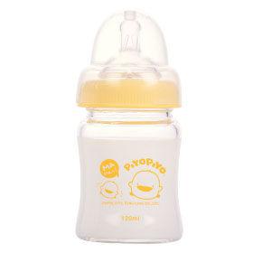 黃色小鴨 寬口徑葫蘆玻璃奶瓶 120CC【德芳保健藥妝】
