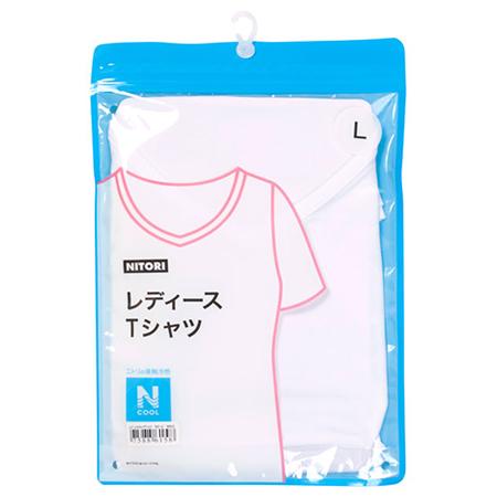 接觸涼感 女士V領T恤 N COOL WH/L