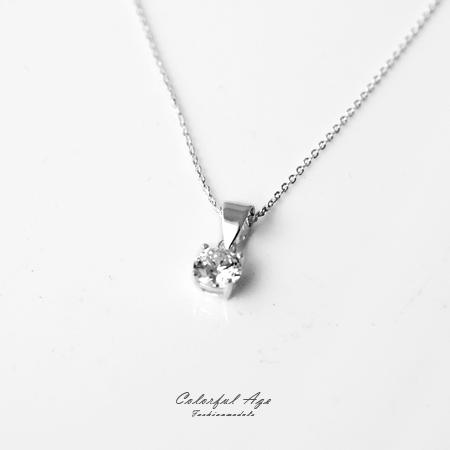 925純銀項鍊 精選單顆閃耀鋯石造型頸鍊短鍊 高貴優雅氣質 抗過敏設計 柒彩年代【NPB27】