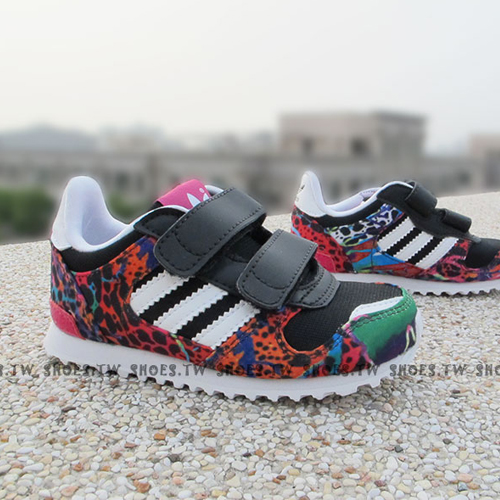 Shoestw【M17022】ADIDAS ZX 700 CF I 小童鞋 黑豹紋 彩虹 黏帶