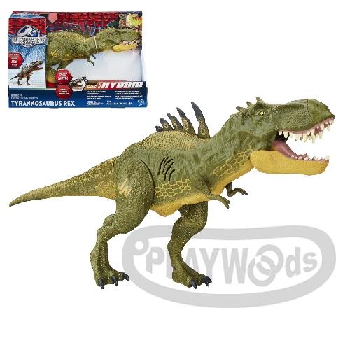 【Playwoods】[侏儸紀世界Jurassic World]混種暴龍聲效玩具組Dino Hybrid Tyrannosaurus Rex(附4號電池2顆/吼叫音效/侏羅紀公園/電影/努布拉島/史蒂芬史匹柏/恐龍/帝王暴龍/迅猛龍/棘龍/滄龍/孩之寶Hasbro)
