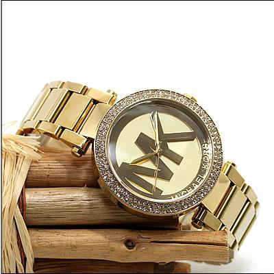 美國Outlet 正品代購 MichaelKors MK 時尚奢華金色鑲鑽 計時手錶腕錶 MK5784