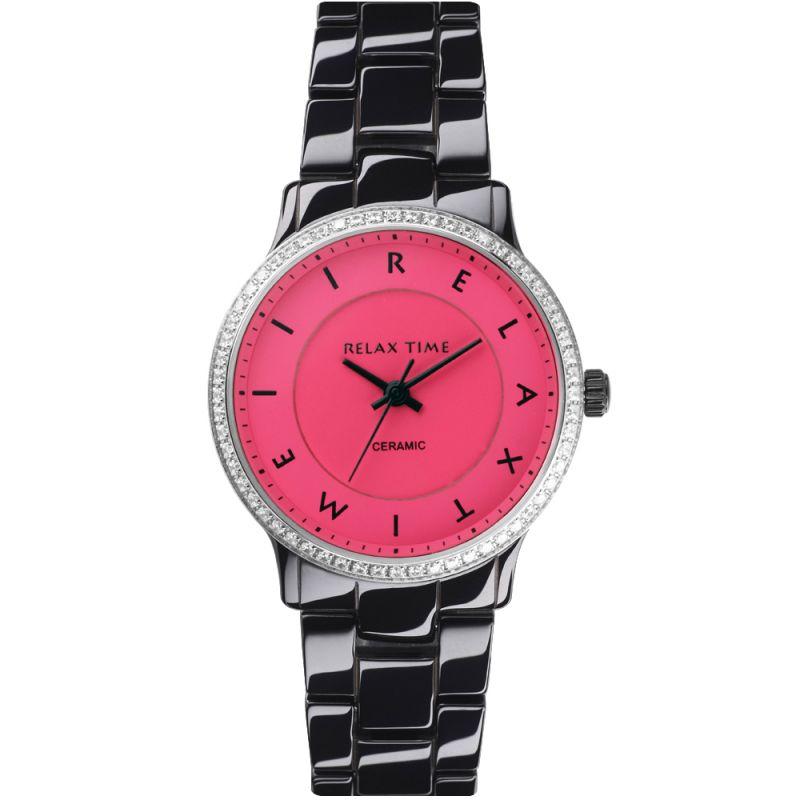 Relax Time  RT-55-8 RT系列迷你纖薄黑桃陶瓷腕錶/桃紅面30.5mm