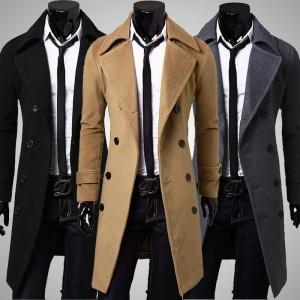 紳士미각純色雙排扣修身大衣新品外套都市男士休閒款十天預購+現貨