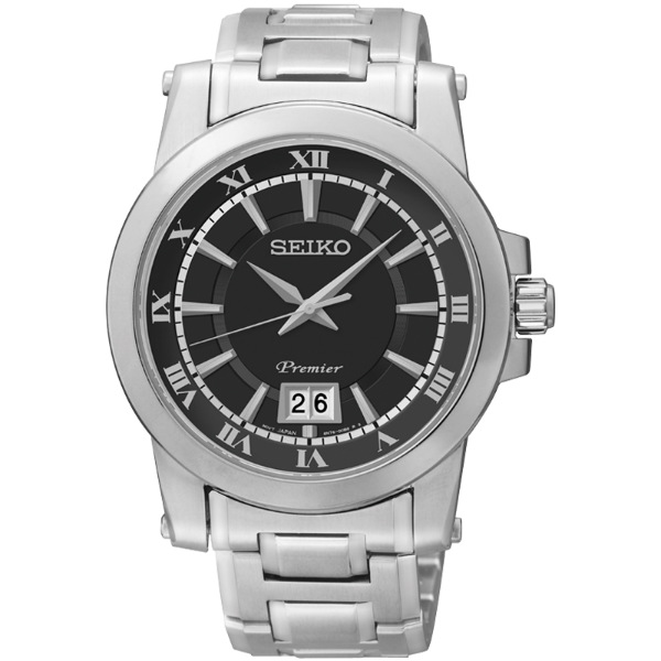 Seiko Premier 6N76-00B0D (SUR015J1)大視窗經典羅馬石英腕錶/黑面41mm