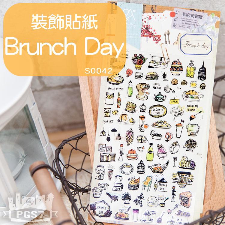 PGS7 富士 拍立得 底片 裝飾貼紙 - 編號 S0042 Brunch Day  手繪 塗鴉 風格 下午茶 貼紙 手帳本 日記