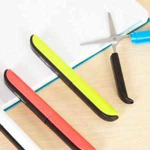 美麗大街【BF216E4E1E830】創意彩色剪刀鋼筆式炫彩便攜安全手工剪刀帶保護套