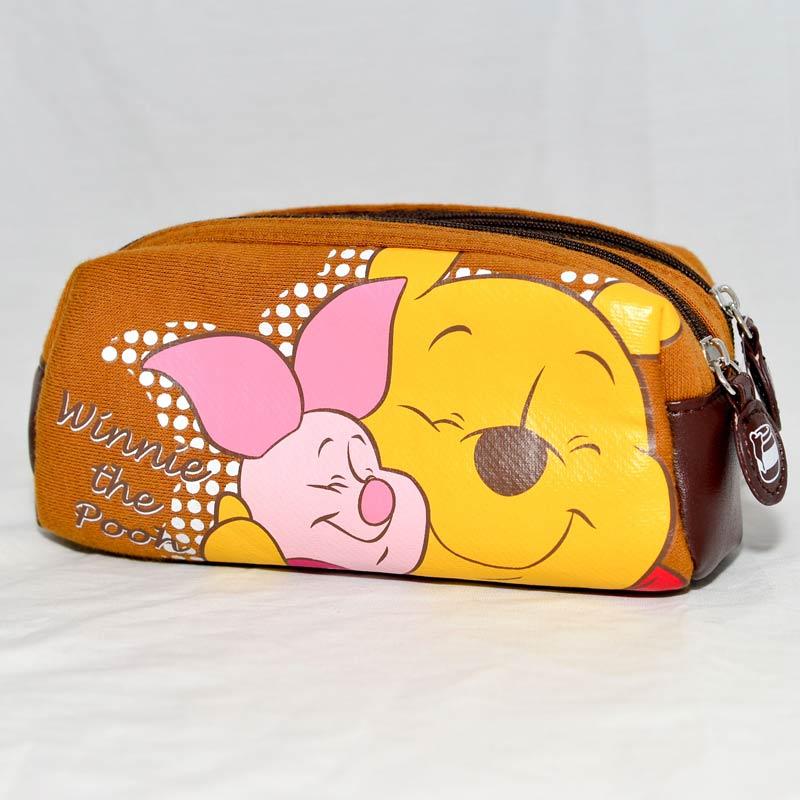 小熊維尼 雙層 布質 筆袋 文具袋 多功能拉鍊包 日本迪士尼正版商品
