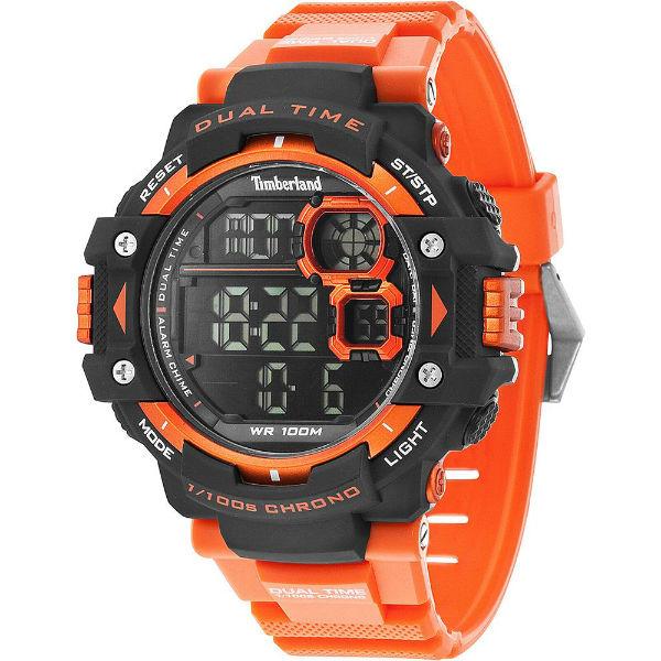 Timberland 天柏嵐 TBL.14260JPBO/02流行數位亮橘腕錶/黑面55mm