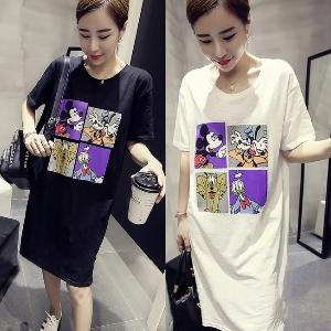 美麗大街【IR2241】可愛迪士尼米奇唐老鴨印花短袖長版T恤