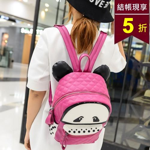 後背包 韓版小熊貓立體耳朵格菱後背包 包飾衣院 P1410 現貨