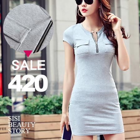 SISI【D6084】休閒性感圓領拉鍊中長款顯瘦短袖中長T恤包臀連身裙洋裝