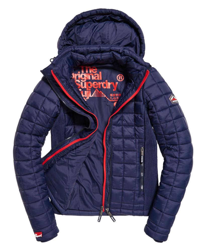 英國OUTLET代購 極度乾燥 Superdry Fuji 2016 女士羽絨絎縫框式連帽夾克 保暖加厚外套 藏青色