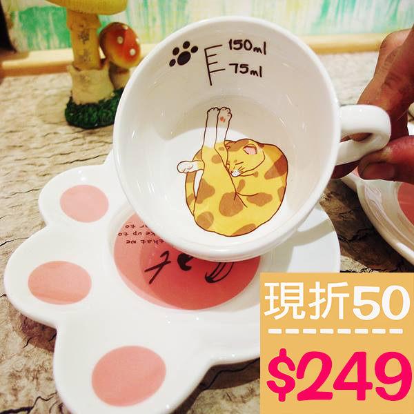 小熊日系* 貓咪 陶瓷聖誕 咖啡杯 瓷杯子 馬克杯 附腳掌杯盤 水杯 超療癒