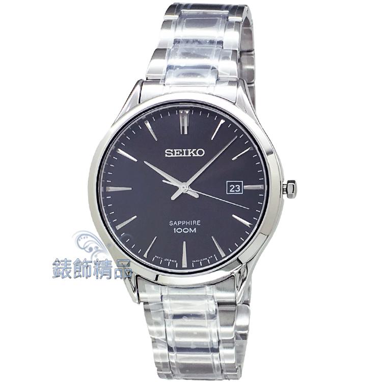 【錶飾精品】SEIKO手錶 精工錶 藍寶石水晶 黑面 日期 鋼帶 男表 SGEG95.SGEG95P1 全新正品
