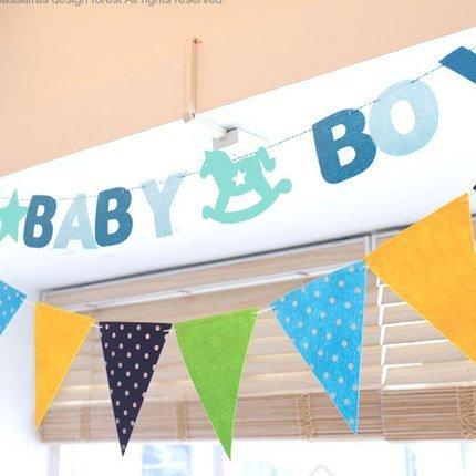 =優生活=韓國可愛卡通木馬baby girl&baby boy派對兒童裝飾用品生日兒童聚會拉花彩旗横幅 嬰兒房佈置 野餐三角旗