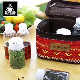 【【蘋果戶外】】KAZMI K5T3K001RD 經典民族風調味料收納袋(S) 紅色 調味罐/保護提袋/野餐調味包