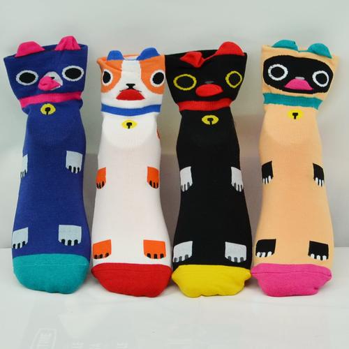 {Waylon}出口韓國-可愛小雞織花圖案棉質短襪 吸收腳汗 保持腳部溫暖 長度約到腳踝上10公分 (建議合適鞋號: 34-40)