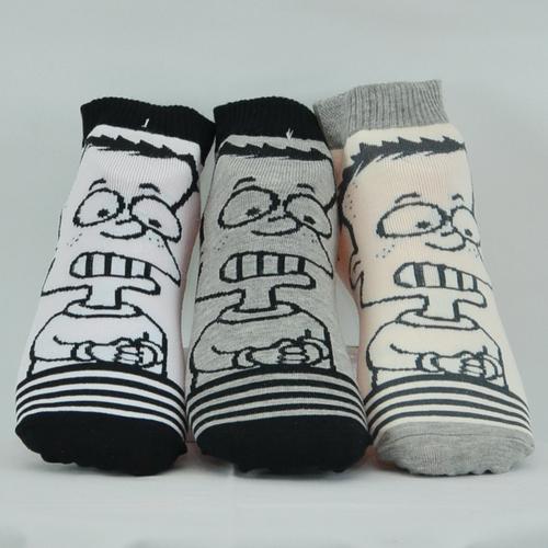 """{Waylon}出口韓國-男士織花""""4眼仔""""圖案棉質短襪 吸收腳汗 保持腳部溫暖 長度約到腳踝上6公分 (建議合適腳掌長度: 25-28cms)"""