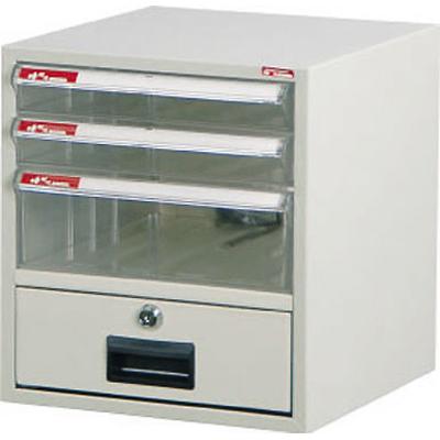 【文具通】A4-104K桌上型資料櫃(附鎖透明抽) A0680005