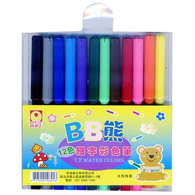【文具通】歐菲士 彩色筆[細字12色] A1020304