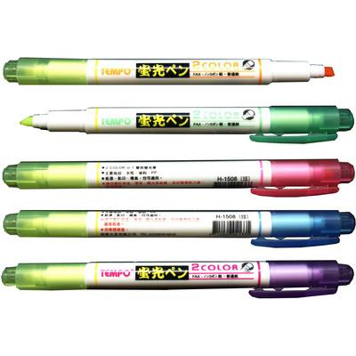 【文具通】TEMPO 節奏 H-1508 雙色螢光筆 藍 黃 A1040458