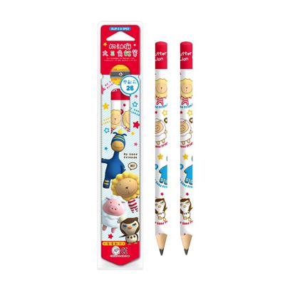 【文具通】雄獅奶油獅學齡鉛筆2入+筆削 A1110472