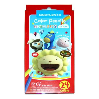 【文具通】SIMBALION雄獅奶油獅六角色鉛筆24色CP-24A A1340264