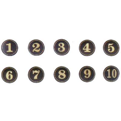 【文具通】A1 圓桌牌標示牌 數字可貼 黑底金字 10# 直徑5cm AA010461