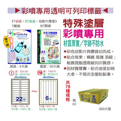 【文具通】Herwood 鶴屋 TT210297 三合一透明可列印 A4 電腦標籤 5張 全張 210x297mm 720-1440dpi ASTT210297 ASTT210297