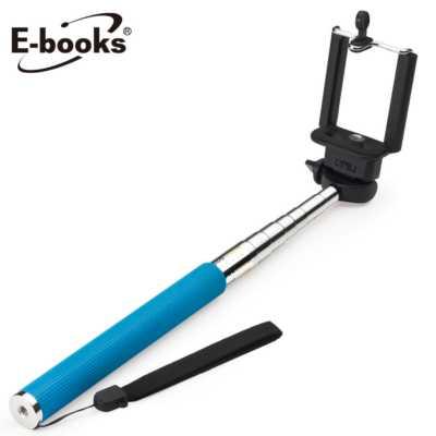 【文具通】E-books N15 七段伸縮6吋以下自拍桿+手機夾藍 E-IPB048BL