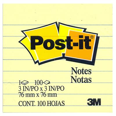 【文具通】3M 利貼可再貼便條紙 630 100張 75x75 黃 橫格 F5010248