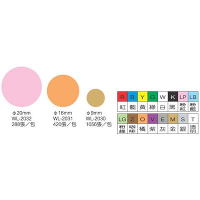 【文具通】彩色圓點標籤2032透明20mm 250PS M7010303