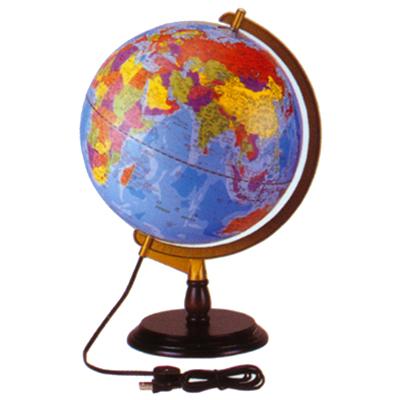 【文具通】木質底座發光地球儀8吋31cm W3010008