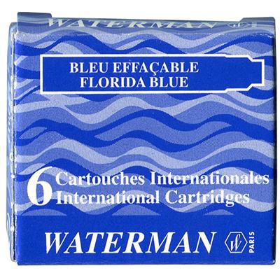 【文具通】WATERMAN 袖珍型卡式墨水-6入佛羅里達藍 WTM-W0110950