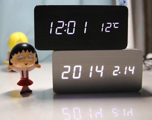 時間溫度鬧鐘 木頭鐘LED鐘 靜音時鐘032461海渡