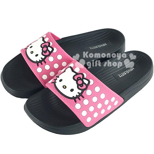 〔小禮堂〕Hello Kitty 厚底拖鞋《粉.黑底.點點.大臉》夏日輕便舒適隨處走