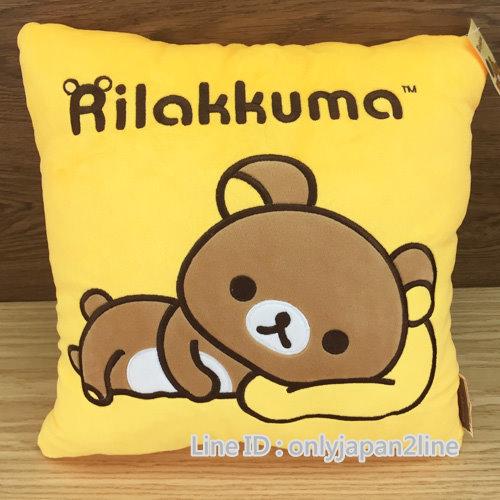 【真愛日本】16112600016方型刺繡抱枕-懶熊側躺    SAN-X 懶熊  奶熊 拉拉熊  枕頭  靠枕 正品