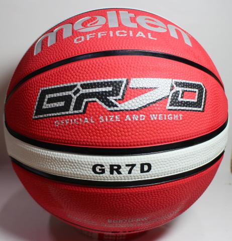 [陽光樂活=] MOLTEN 12片貼深溝橡膠籃球 標準7號球 紅x白