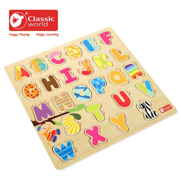 【德國 classic world】客來喜木頭玩具 字母配對拼圖 CL3581