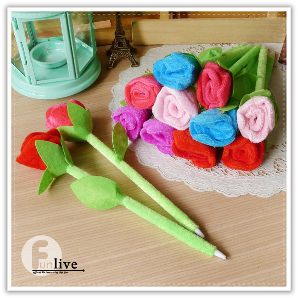 【aife life】絨毛玫瑰筆/玫瑰花造型筆/書寫文具用品/開幕活動/婚禮小物/禮贈品/簽名筆
