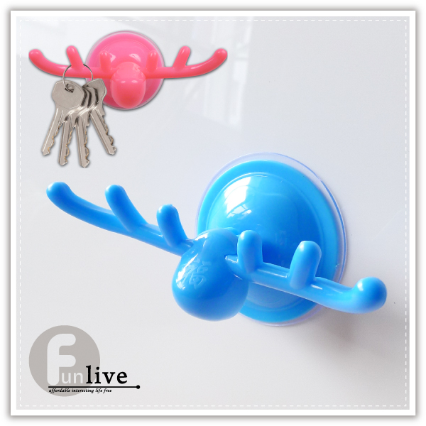 【aife life】強力吸盤鹿角掛勾/鹿頭掛鉤/強力吸盤掛鉤/收納 掛鉤/鑰匙 掛勾/浴室 毛巾 掛架