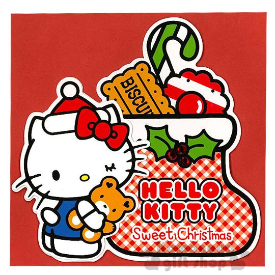 〔小禮堂〕Hello Kitty 造型立體聖誕卡片《紅白格紋聖誕襪裝糖果餅乾.抱小熊.站姿》附信封