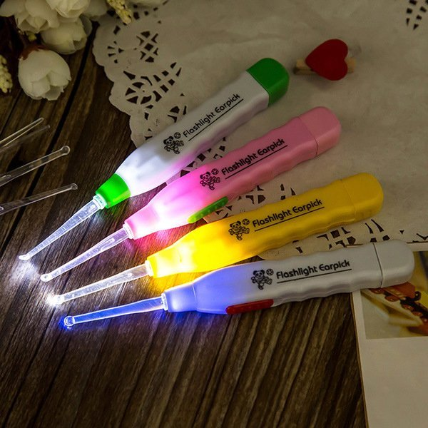 BO雜貨【SV9507】日式創意防滑手柄安全發光耳勺 LED燈 發光透明耳勺挖耳勺 三件套