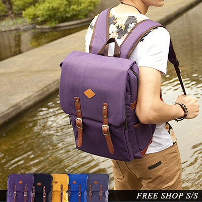 Free Shop【QI9070】韓國玩色厚實帆布皮標皮革磁扣帶後背包大容量電腦包‧五色