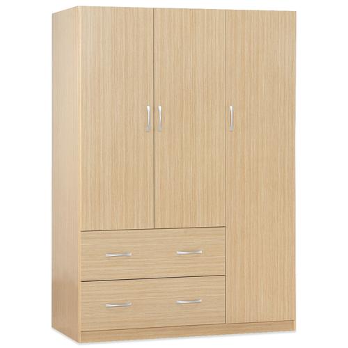 《Hopma》白橡木色三門二抽衣櫃