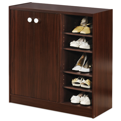 《Hopma》胡桃木色雙門五層鞋櫃