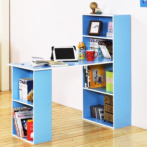 《Hopma》水藍配白水漾4+2書櫃型書桌