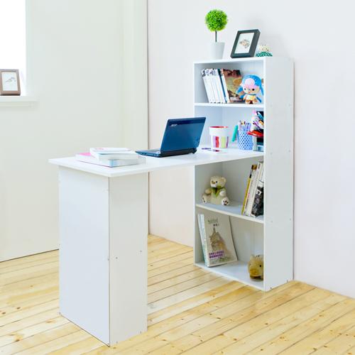 《Hopma》時尚白水漾4+2書櫃型書桌