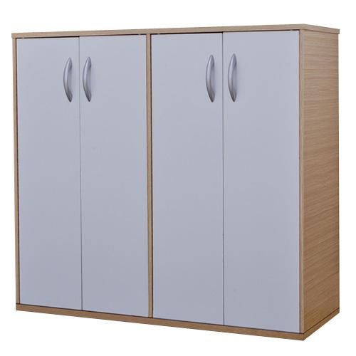《Hopma》白橡配白組合式四門鞋櫃